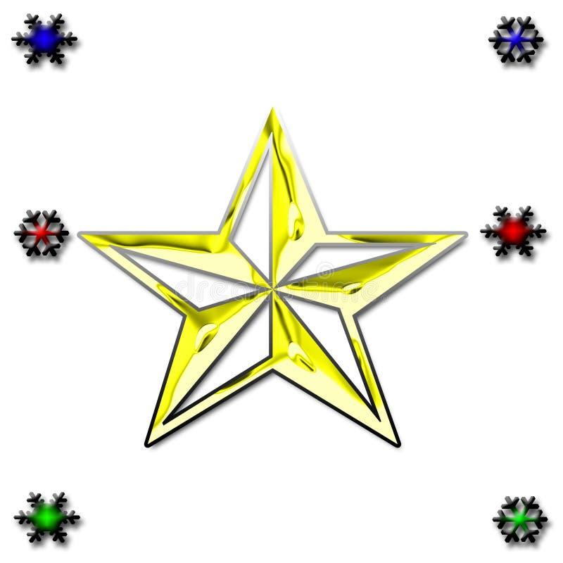 De achtergrond van de ster en van de sneeuw stock foto's