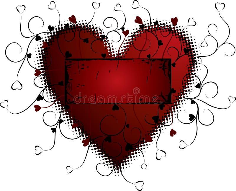 De achtergrond van de valentijnskaart grunge, hart, vector royalty-vrije illustratie