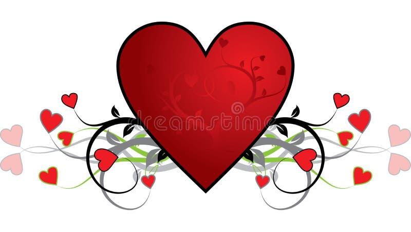 De achtergrond van de valentijnskaart, hart, vector stock illustratie
