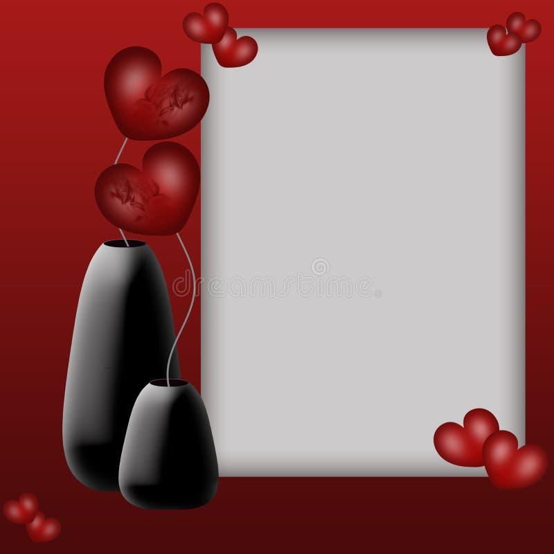 De achtergrond van de valentijnskaart met fotoframe stock fotografie