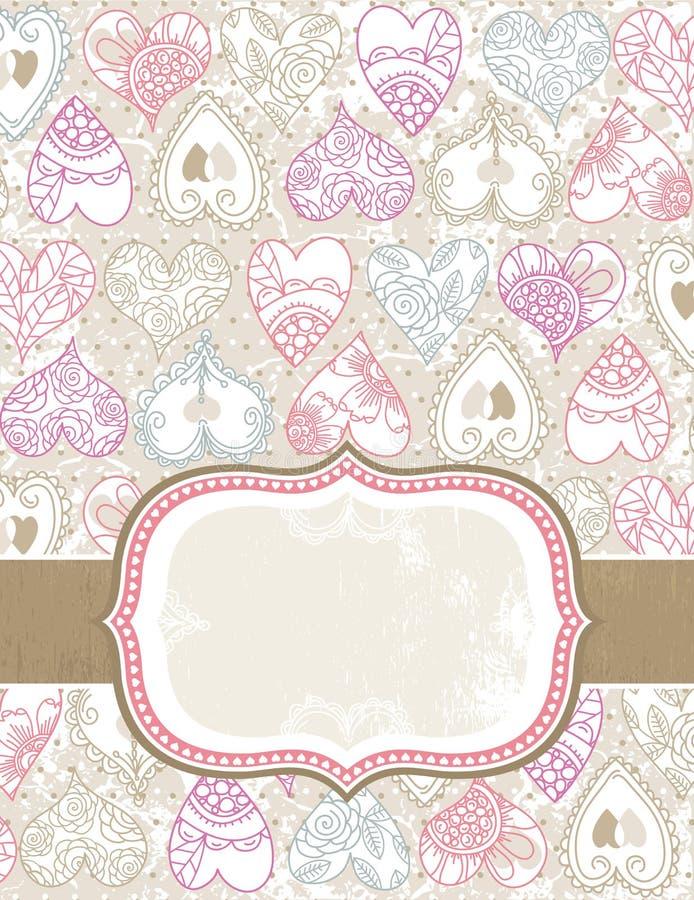 De achtergrond van de valentijnskaart met kleurenharten stock illustratie