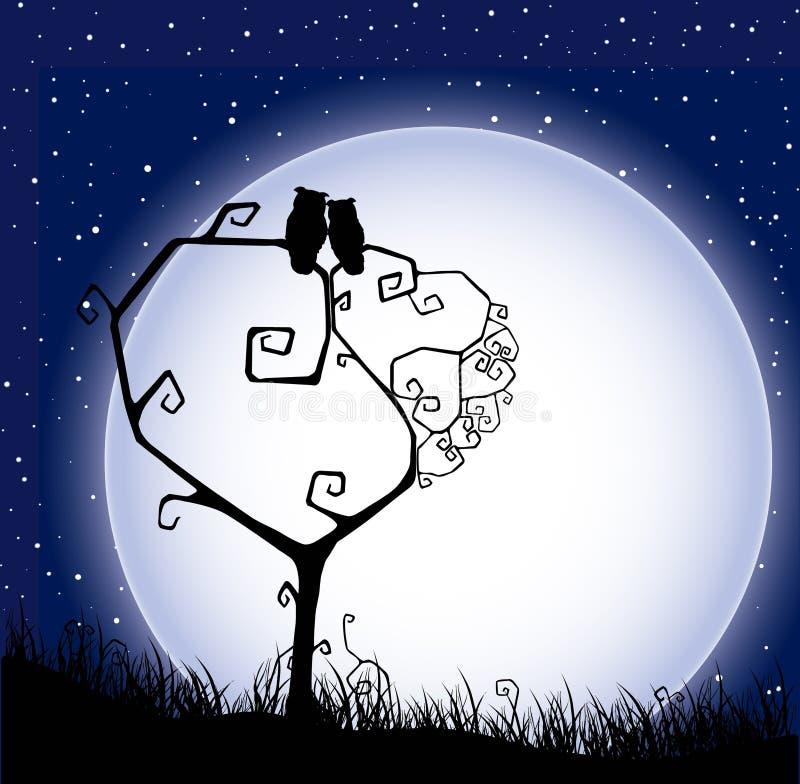 De achtergrond van de valentijnskaart `s met boom, liefdeuilen en mo vector illustratie