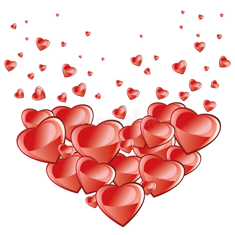 De achtergrond van de valentijnskaartendag, dalende harten royalty-vrije illustratie