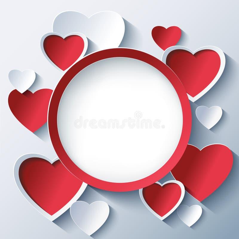 De achtergrond van de valentijnskaartendag, kader met 3d harten stock illustratie