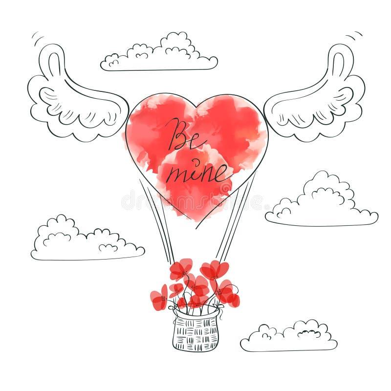 De achtergrond van de valentijnskaartendag Krabbelillustratie van luchtballon stock illustratie