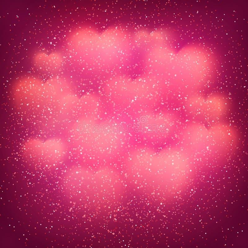 De achtergrond van de valentijnskaartendag met wolk van gloeiende vage bokeh harten en schittert confettien Roze decoratieve acht royalty-vrije illustratie