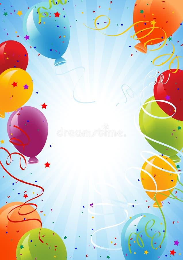 De Achtergrond Van De Viering Met Ballons Stock Fotografie