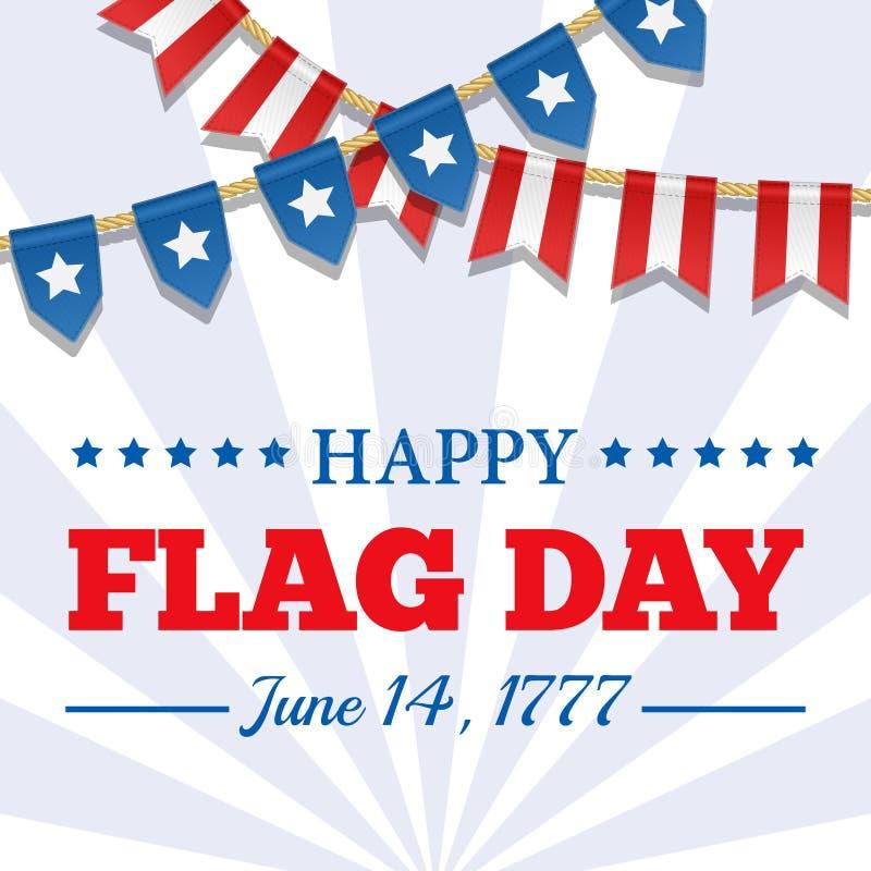De achtergrond van de vlagdag Het patriottische malplaatje van de V.S. met tekst, strepen en sterren Vectorbunting decoratie voor vector illustratie