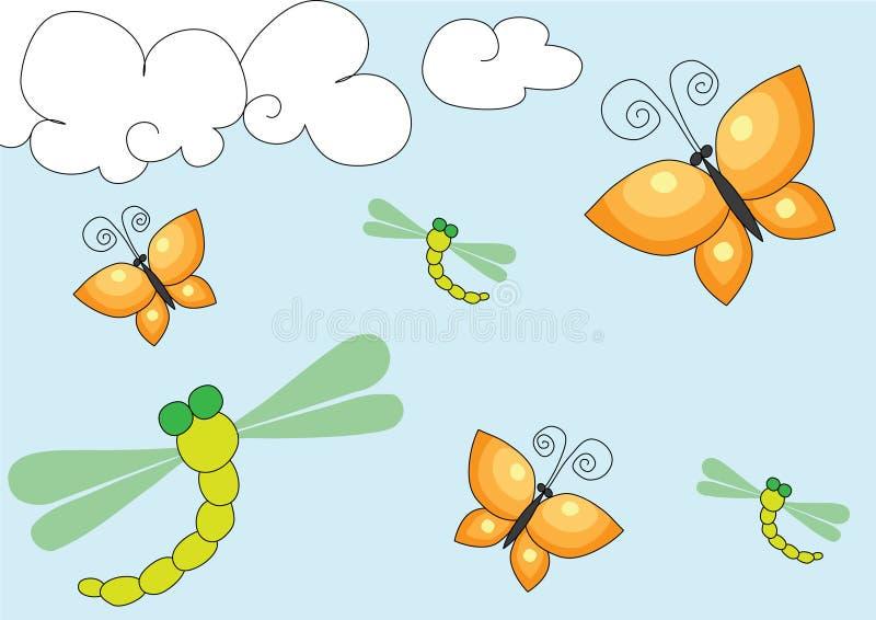 Download De Achtergrond Van De Vlinder En Van De Draakvlieg Stock Illustratie - Illustratie bestaande uit trek, spring: 10779883