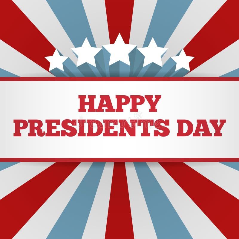 De achtergrond van de voorzittersdag Het patriottische vectormalplaatje van de V.S. met tekst, strepen en sterren in kleuren van  royalty-vrije illustratie