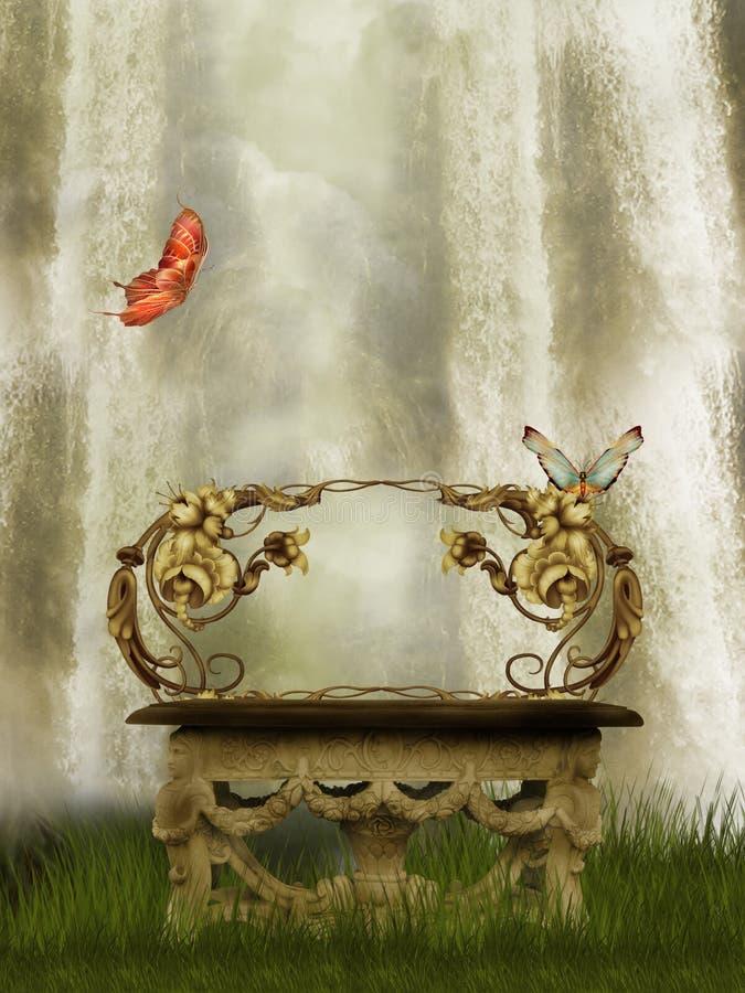 De achtergrond van de waterval royalty-vrije illustratie