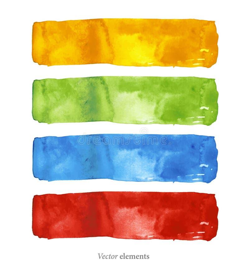 De achtergrond van de waterverf abstracte achtergrond Getrokken hand De achtergrond van de textuur Vier geïsoleerde vectoren vector illustratie