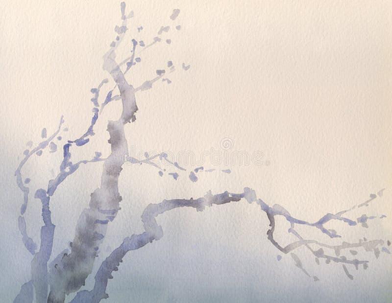 De achtergrond van de waterverf De wintertakken van oude boom vector illustratie