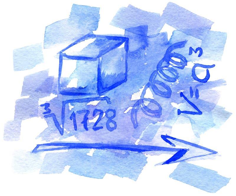 De achtergrond van de waterverf met wiskundige symbolen stock illustratie