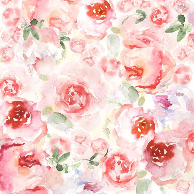 De achtergrond van de waterverfbloem voor uitnodigingskaart Bloemen met de hand geschilderde kaarten vector illustratie