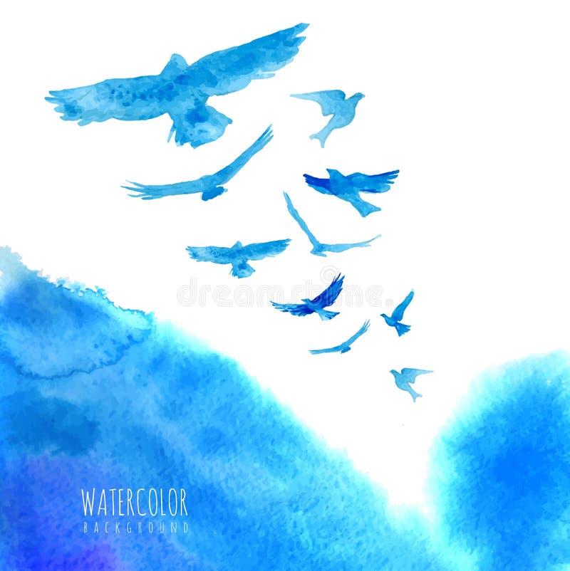 De achtergrond van de waterverfhemel met vogels stock illustratie