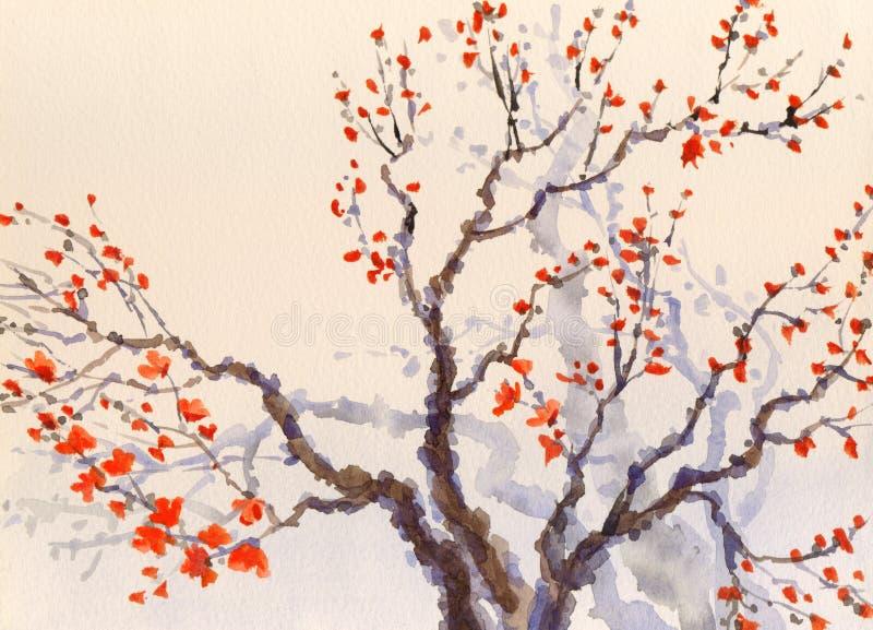 De achtergrond van de waterverflente Rode bloemen en knoppen op de boom stock illustratie