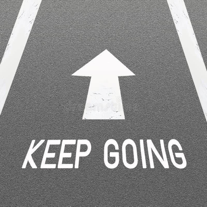 De Achtergrond van de Weg van het asfalt met de Pijl van het Signaal en Word houden gaand royalty-vrije illustratie