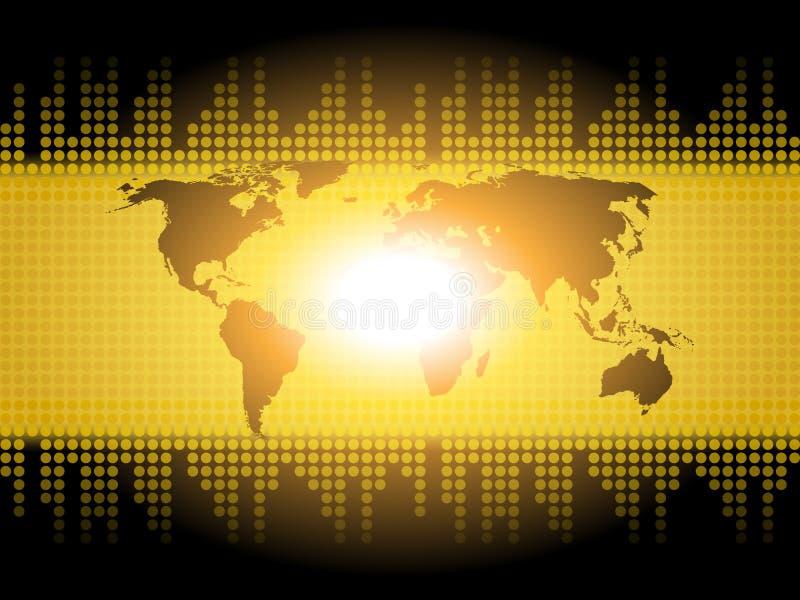 De Achtergrond van de wereldkaart toont Internationale Communicatie of Globaal royalty-vrije illustratie