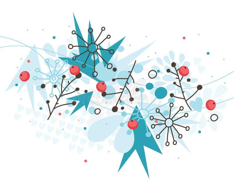De achtergrond van de winter met bessen royalty-vrije illustratie