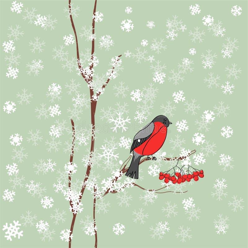 De achtergrond van de winter met goudvink vector illustratie
