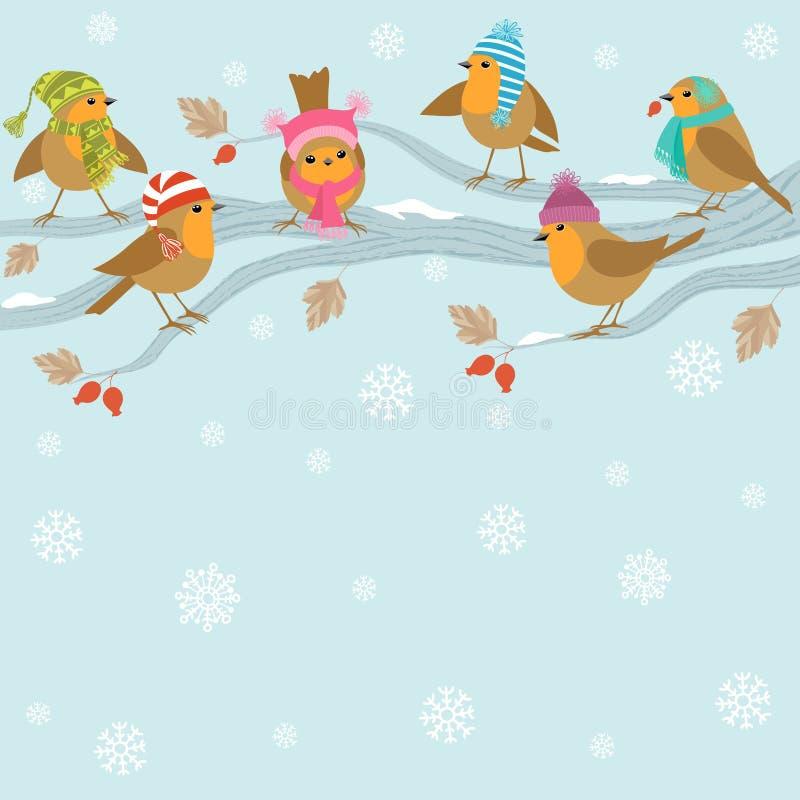 De achtergrond van de winter met grappige vogels. royalty-vrije illustratie