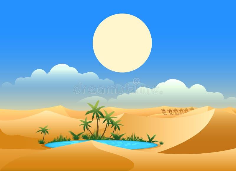 De achtergrond van de woestijnoase royalty-vrije illustratie