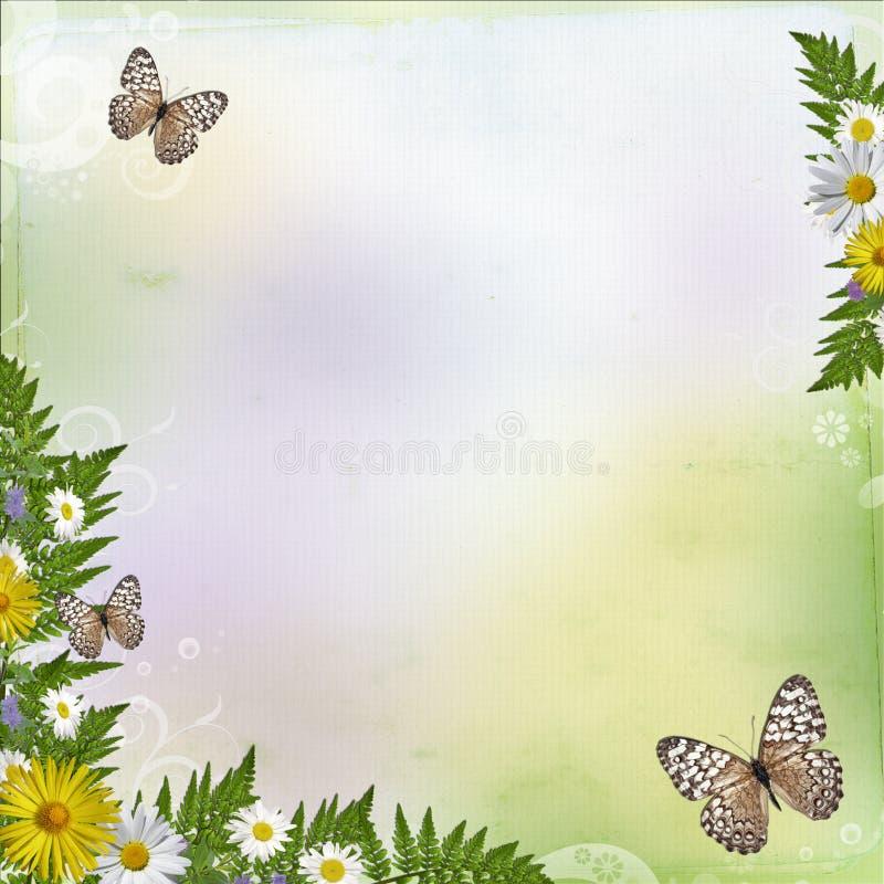 De achtergrond van de zomer met bloemen en bladeren royalty-vrije illustratie