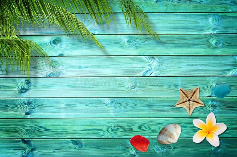 De achtergrond van de zomer met palmen royalty-vrije stock afbeelding
