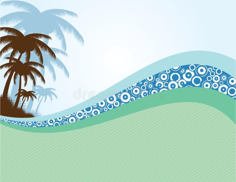 De achtergrond van de zomer met palmen royalty-vrije illustratie