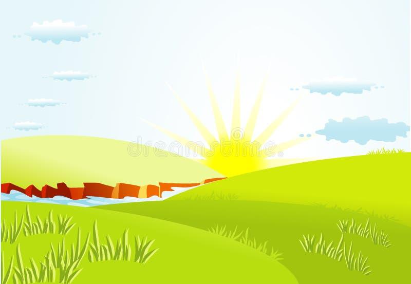 De achtergrond van de zomer met zon royalty-vrije illustratie