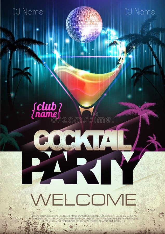 De achtergrond van de disco Cocktail partyaffiche vector illustratie