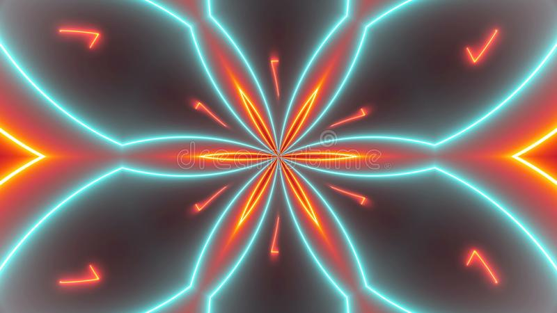 De achtergrond van discocaleidoscopen met gloeiende neon kleurrijke lijnen en geometrische vormen stock illustratie