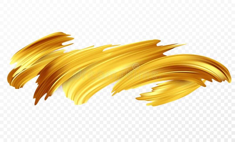 De achtergrond van een gouden penseelstreekolie of de acrylverf ontwerpt element voor presentaties, vliegers, pamfletten, prentbr vector illustratie