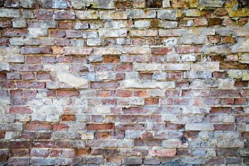 De achtergrond van een oude bakstenen muur wordt gedeeltelijk geruïneerd door metselwerk stock foto's
