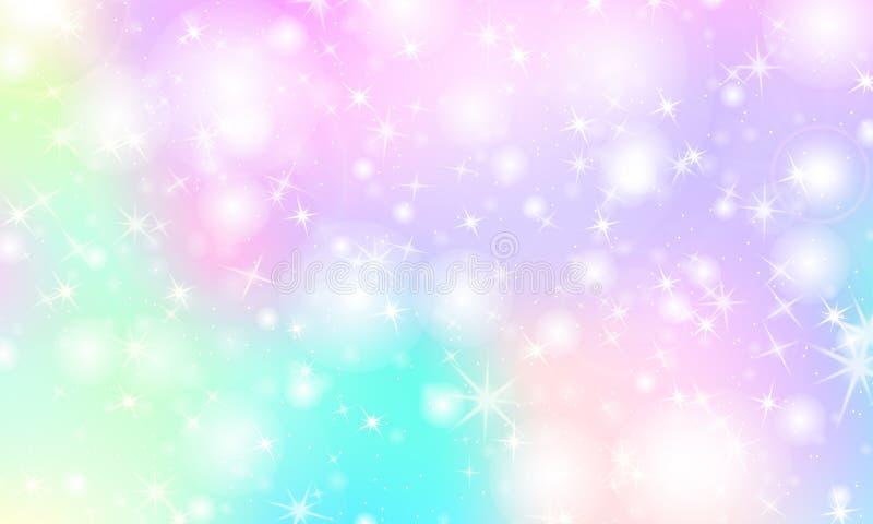 De achtergrond van de eenhoornregenboog Holografische hemel vector illustratie