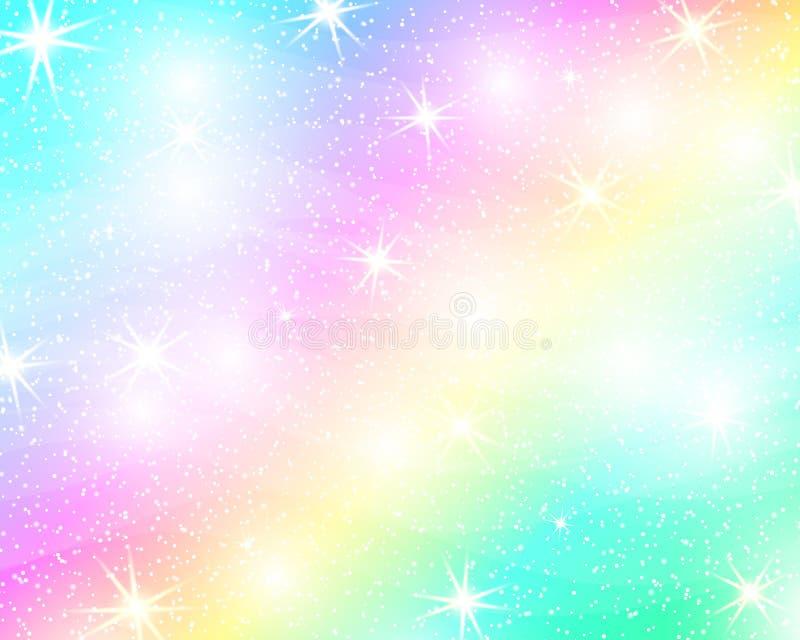 De achtergrond van de eenhoornregenboog Holografische hemel in pastelkleur Helder meerminpatroon in prinseskleuren Vector illustr royalty-vrije illustratie