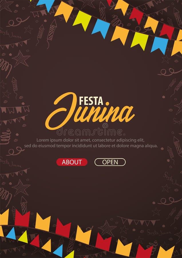 De achtergrond van Festajunina met hand trekt krabbelelementen en partijvlaggen De Latijns-Amerikaanse vakantie van Brazilië of V royalty-vrije illustratie