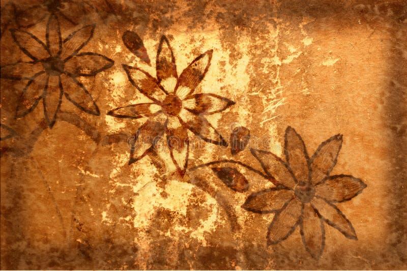 De Achtergrond van Grunge met Bloemen en Krassen stock illustratie