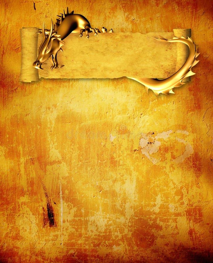 De achtergrond van Grunge met draak en rol stock illustratie