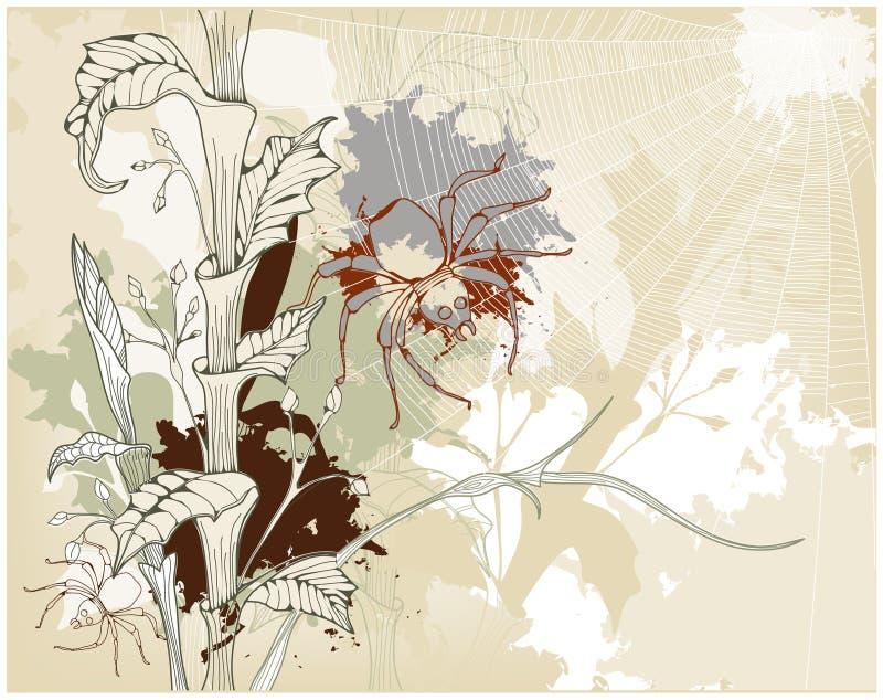 De achtergrond van Grunge met een spin en een spin-net royalty-vrije illustratie