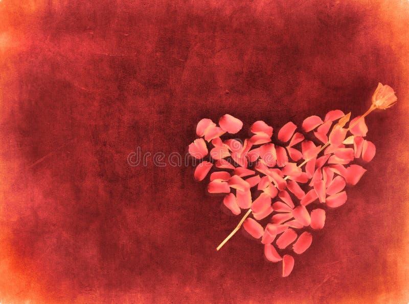 De achtergrond van Grunge met hart die van roze bloemblaadjes wordt gemaakt vector illustratie
