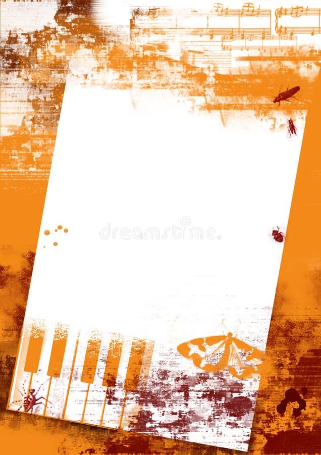 De achtergrond van Grunge met insecten en piano vector illustratie