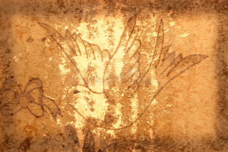 De Achtergrond van Grunge met Vogel vector illustratie