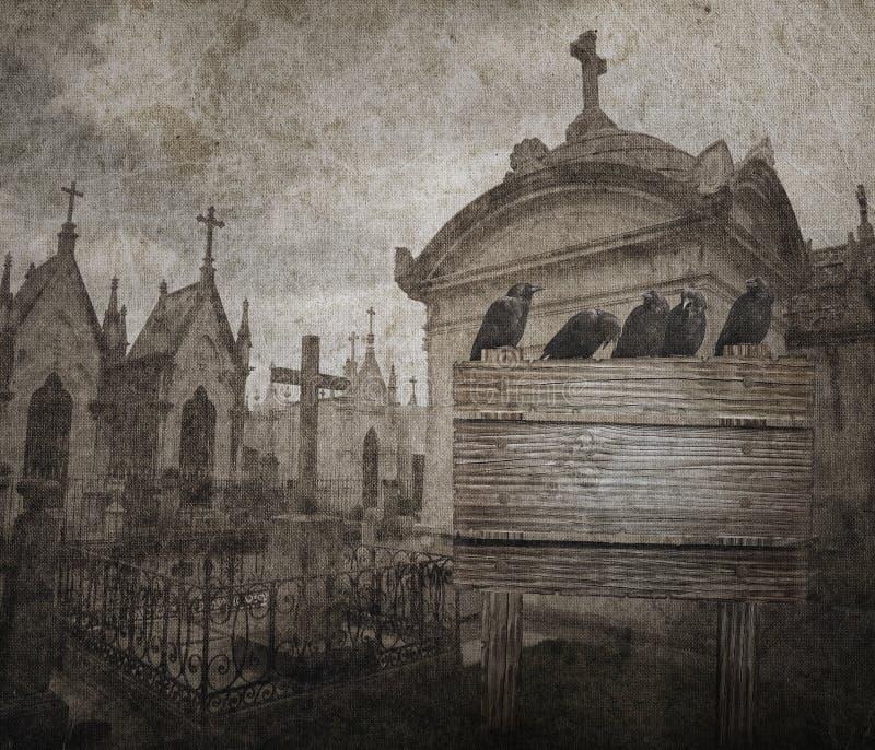 De achtergrond van Grungehalloween met kraai, graven in de vorm van chpe vector illustratie