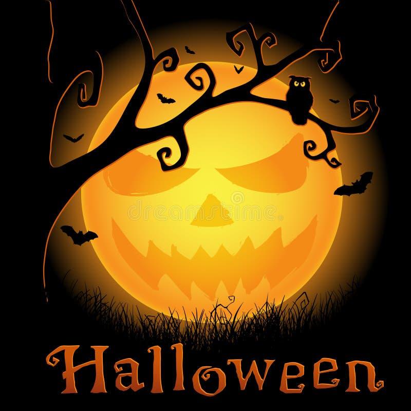 De achtergrond van Halloween met enge maan stock illustratie