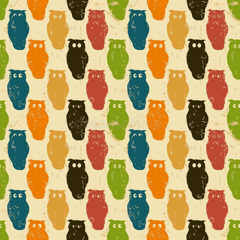 De achtergrond van Halloween. Retro patroon met uilen. stock illustratie