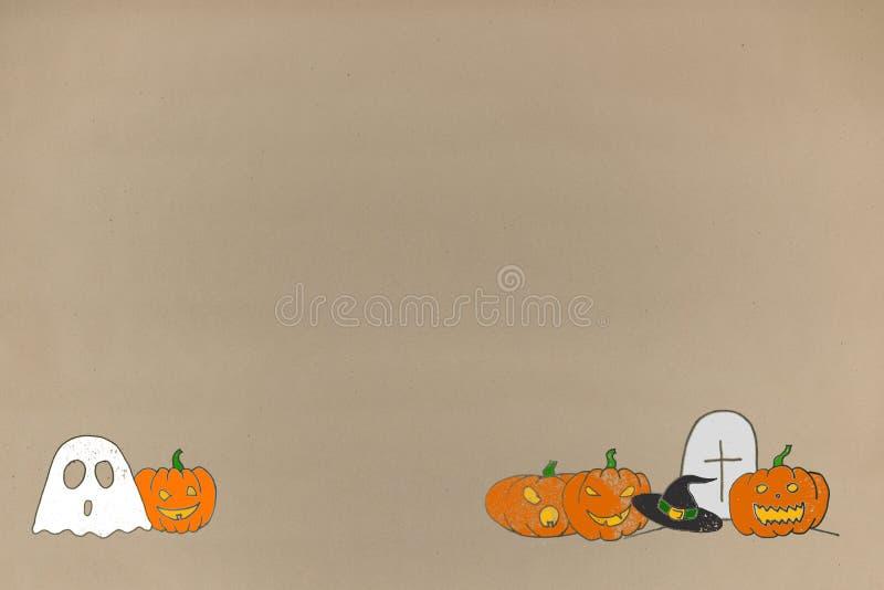 De achtergrond van Halloween van de tekeningsgroet op document ambachten groetkaart en reclameruimte voor tekst royalty-vrije stock afbeeldingen