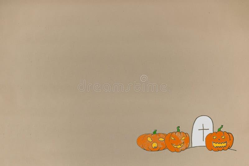 De achtergrond van Halloween van de tekeningsgroet op document ambachten groetkaart en reclameruimte voor tekst royalty-vrije stock fotografie