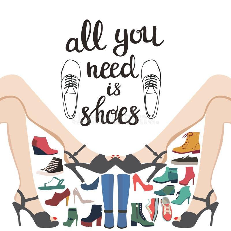 De achtergrond van de hand darwn manier met inzameling van schoenen en Lett royalty-vrije illustratie